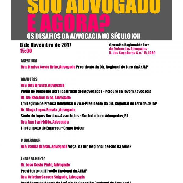 """Debate """"Sou Advogado e agora? Os desafios da Advocacia no séc. XXI""""- Faro"""